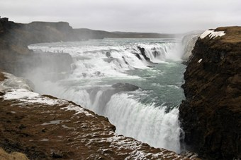 The Gullfoss Waterfalls in April